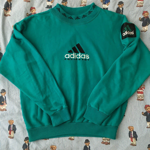 Vintage Turquoise Adidas Equipment Sweatshirt (M)-Sweatshirts/Jumpers-DISTINCT - THREADS