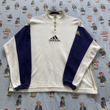 Vintage White & Blue Adidas 1/4 Zip Sweatshirt (L)-Sweatshirts/Jumpers-DISTINCT - THREADS