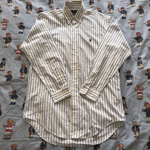 "Vintage White & Blue Pinstripe Ralph Lauren Button Down Shirt (L/15"")-Shirts-DISTINCT - THREADS"