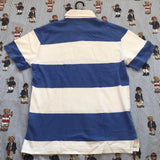 Vintage White & Blue Ralph Lauren Rugby Stripe Polo Shirt (M)-Polos-DISTINCT - THREADS