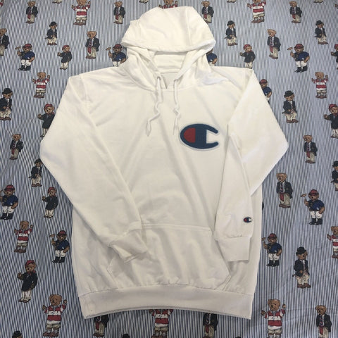 Vintage White Champion Big Logo Hoodie ☁️ (L)-Sweatshirts/Jumpers-DISTINCT - THREADS
