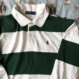 Vintage White & Green Striped Ralph Lauren Rugby Shirt (S)-Rugby Tops-DISTINCT - THREADS