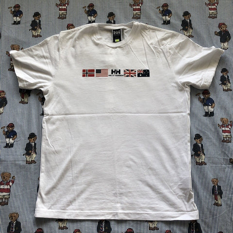Vintage White Helly Hansen Flag T Shirt (L)-DISTINCT - THREADS