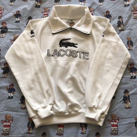 Vintage White Lacoste Rugby Shirt 🐊 (S/M)-Rugby Tops-DISTINCT - THREADS