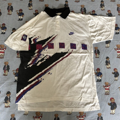 Vintage White Nike Abstract Polo Shirt 🌊 (L)-Polos-DISTINCT - THREADS