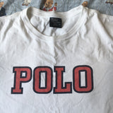 Vintage White Polo Ralph Lauren Tshirt (L)-T Shirts-DISTINCT - THREADS