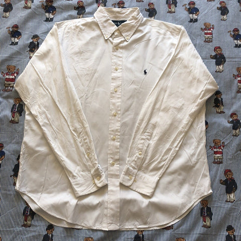 "Vintage White Ralph Lauren Button Down Shirt (17"")-Shirts-DISTINCT - THREADS"
