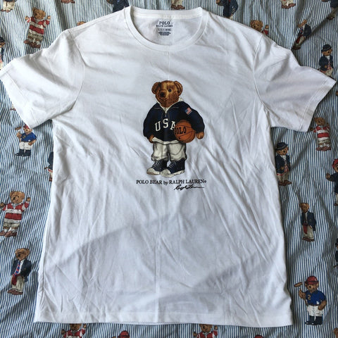 Vintage White Ralph Lauren Polo Bear T Shirt (M)-T Shirts-DISTINCT - THREADS