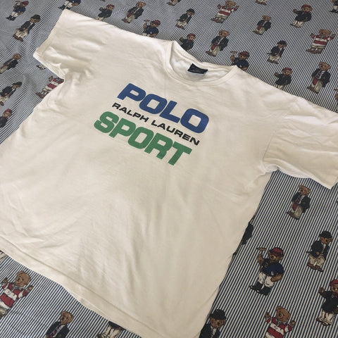 Vintage White Ralph Lauren Polo Sport T Shirt Shirt (L)-T Shirts-DISTINCT - THREADS