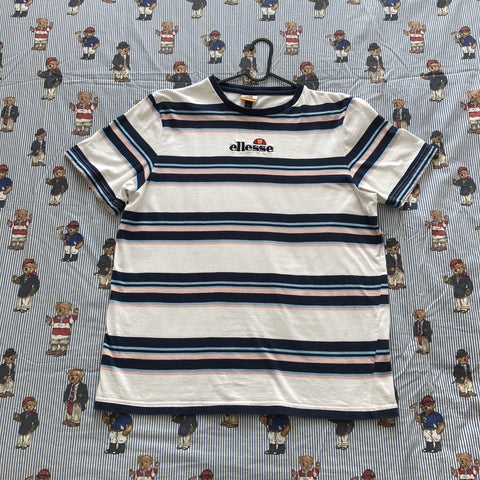 Vintage White Striped Ellesse Tee (L)-T Shirts-DISTINCT - THREADS