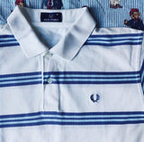 Vintage White Striped Fred Perry Polo Shirt (M)-Polos-DISTINCT - THREADS