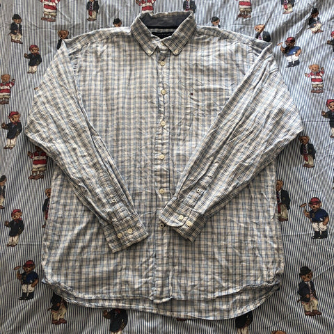 Vintage White Tommy Hilfiger Check Button Down Shirt (L)-Shirts-DISTINCT - THREADS