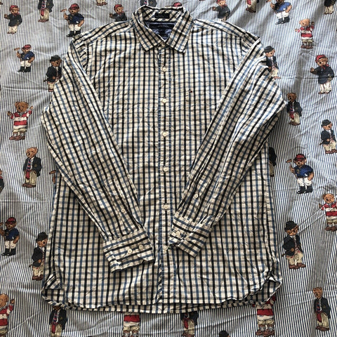 Vintage White With Tommy Hilfiger Button Down Check Shirt (M)-Shirts-DISTINCT - THREADS