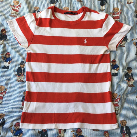 Vintage Women's Red & White Striped Polo Ralph Lauren T Shirt (10)-T Shirts-DISTINCT - THREADS