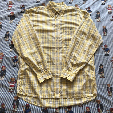 Vintage Yellow Check Lacoste Button Down Shirt 🐊 (L)-Shirts-DISTINCT - THREADS