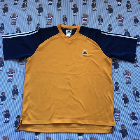 Vintage Yellow & Navy Adidas T Shirt (XL)-T Shirts-DISTINCT - THREADS