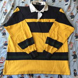 Vintage Yellow, Navy & Green Striped Ralph Lauren Rugby Shirt (L)-Rugby Tops-DISTINCT - THREADS