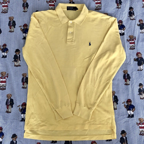 Vintage Yellow Ralph Lauren Long Sleeve Polo Shirt (M)-Polos-DISTINCT - THREADS