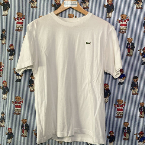 White Lacoste T Shirt (M)-T Shirts-DISTINCT - THREADS