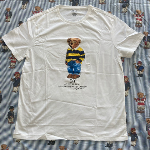 White Limited Edition 50th Anniversary Polo Bear Tee (L)-T Shirts-DISTINCT - THREADS