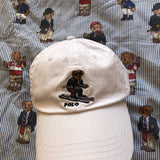 White Ralph Lauren Polo Bear Six Panel Cap 🐻 (Skiing)-Hats/Accessories-DISTINCT - THREADS