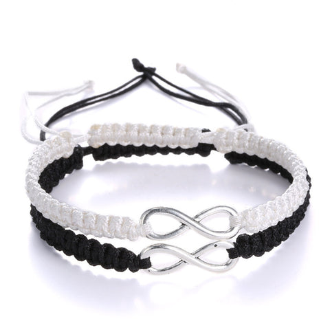 2pcs Handmade Woven 8 Words Lucky Friendship Bracelet Set Infinity Love Bracelet Couples Bracelet Set - Trend-gem
