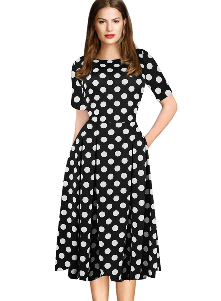 Women's Polka Dot Patchwork Skater Dress - Trend-gem