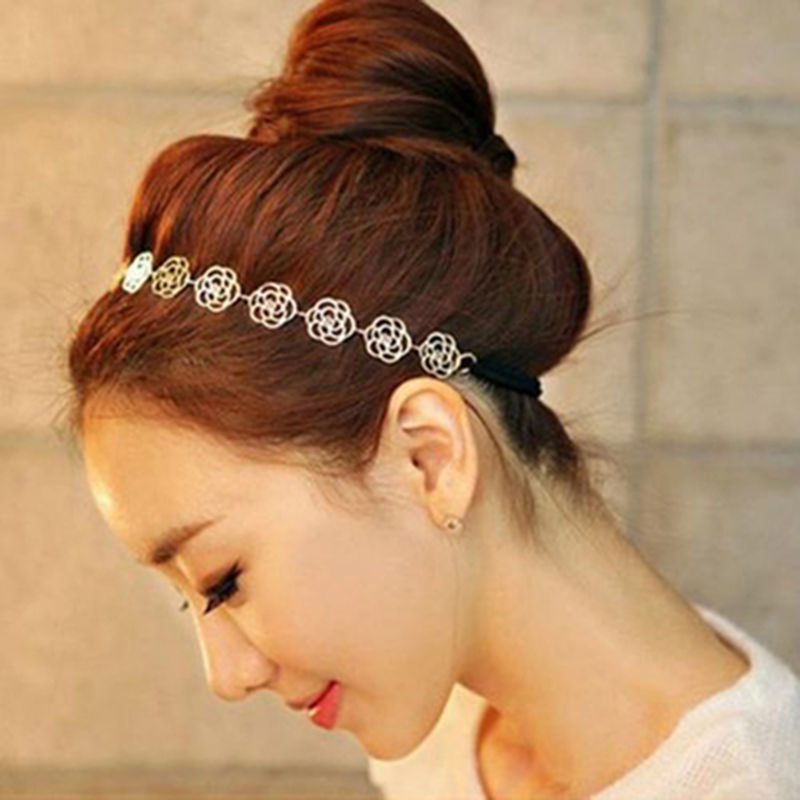 Metallic Hollow Rose Elastic Hair Headband - Trend-gem