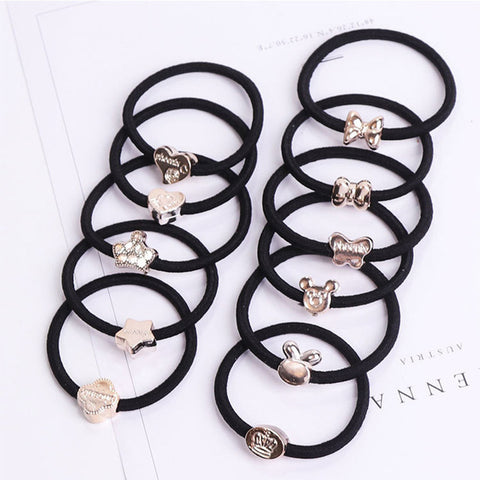 10PCS/Lot Hair Accessories For Women Black Elastic Hair Rubber Bands Girls Lovely Hair Ropes Ponytail Holder Tie Gums - Trend-gem