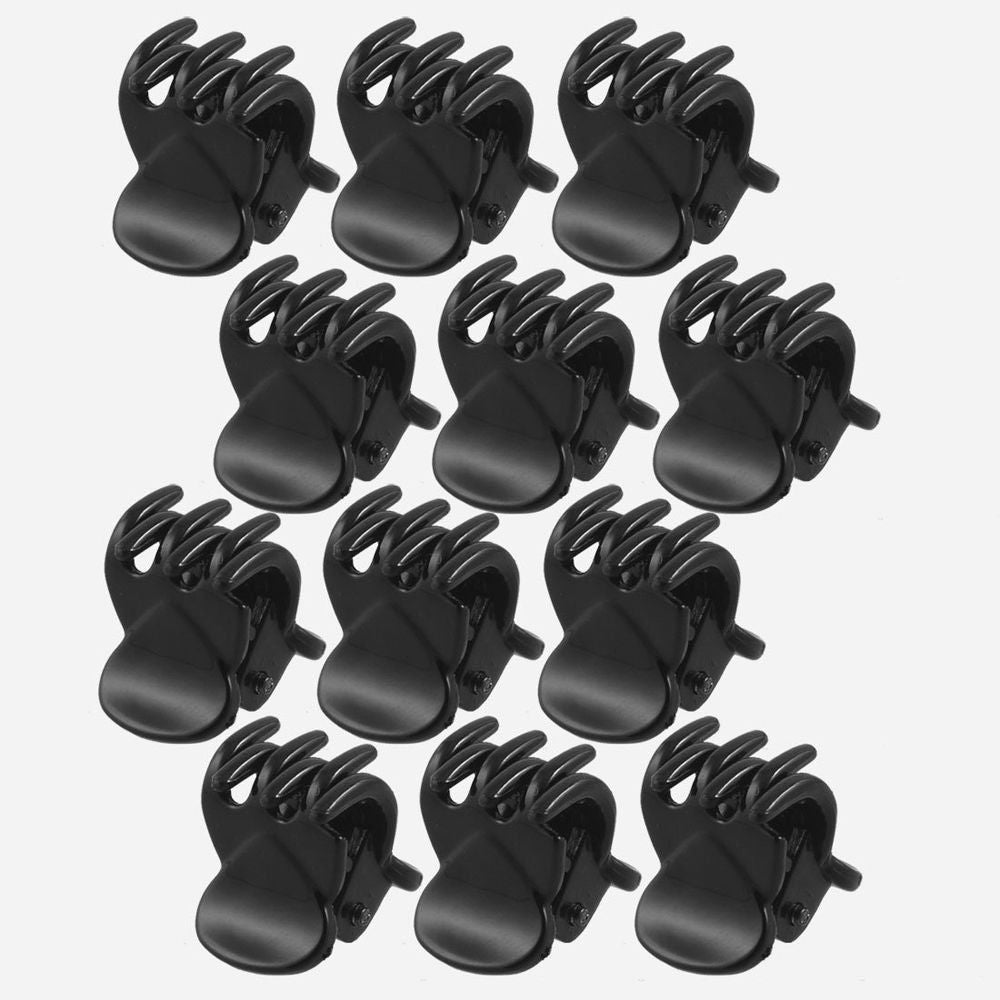 12 pcs/sets Fashion Women Crab Hair claw clip Girls Black Plastic - Trend-gem
