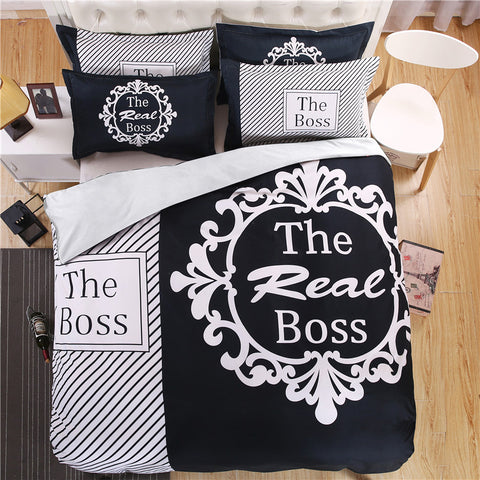 """The Real BOSS"" Bedding Set for Couples 3D - #1 Gift for Couples 2017! - Trend-gem"