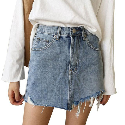 Summer High-Waist Irregular Edge Denim Skirt - Trend-gem