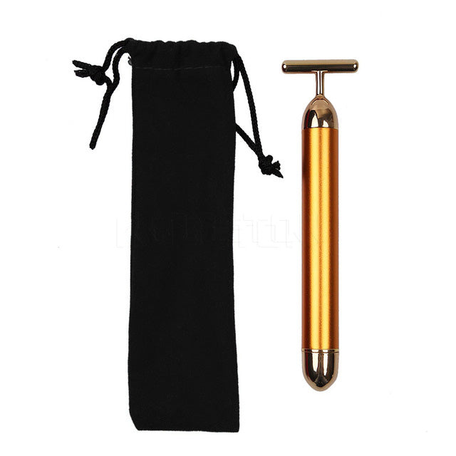 Slimming Face 24k Gold Vibration Facial Beauty Roller Massager Stick Lift Skin Tightening Wrinkle Bar Face with Black Bag - Trend-gem