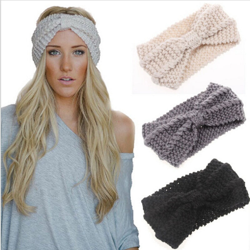 1PC Women Lady Crochet Bow Knot Turban Knitted Head Wrap Hairband Winter Ear Warmer Headband - Trend-gem