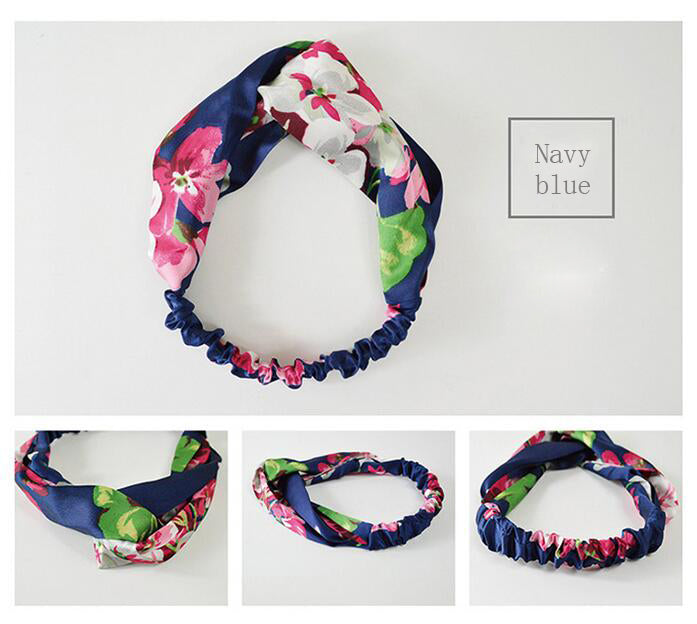 Women's Floral Print Silk Hairbands - Trend-gem