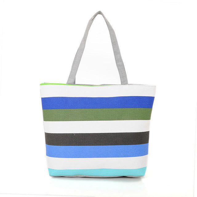 Striped Print Canvas Beach Bag - Trend-gem