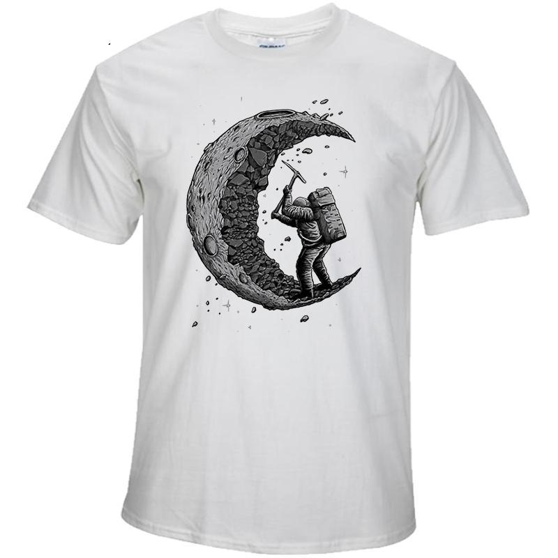 100% cotton digging the moon print casual mens o-neck t shirts fashion men's tops men T-shirt short sleeve men tshirt 2017 - Trend-gem
