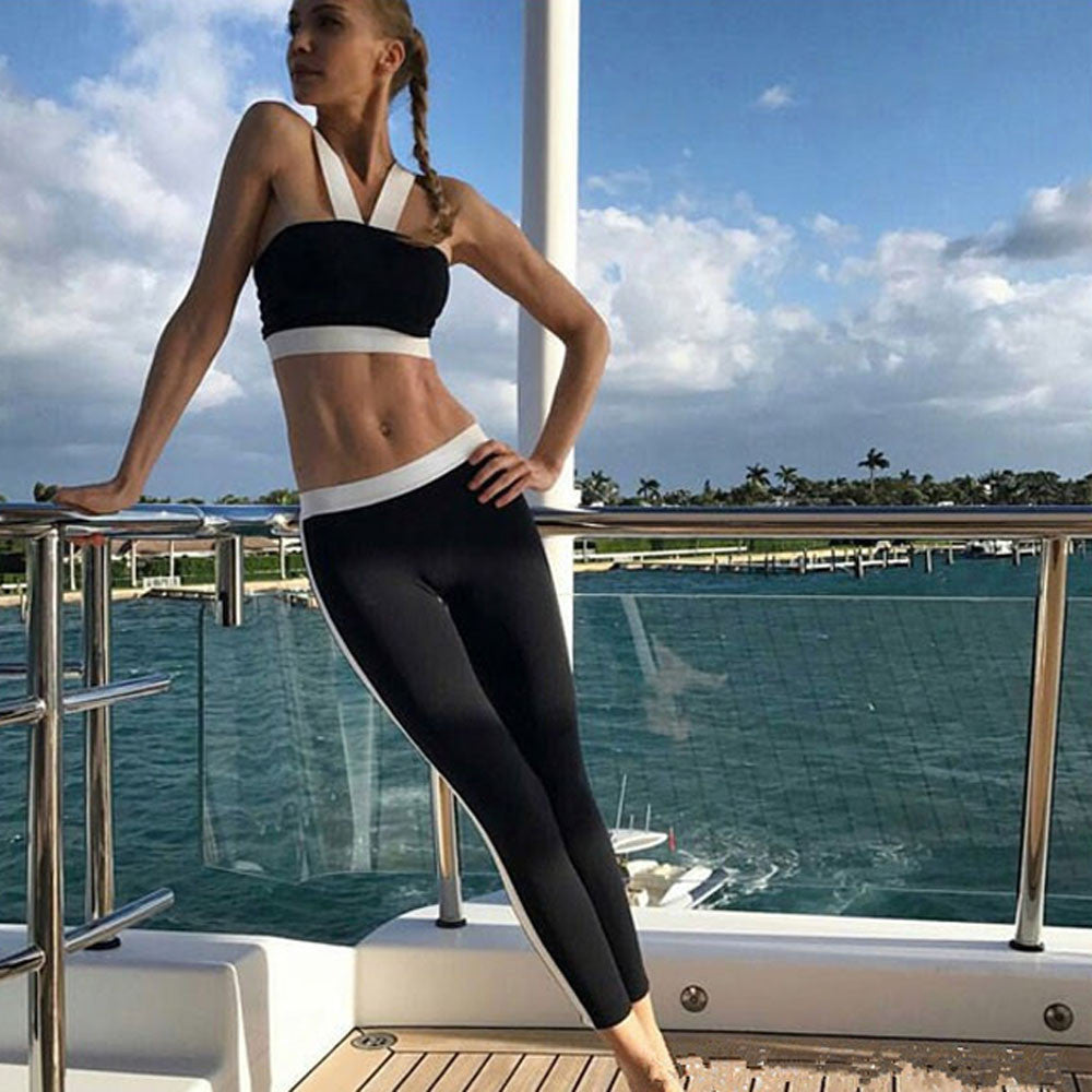 Matching Black & White Yoga Top and Leggings - Trend-gem