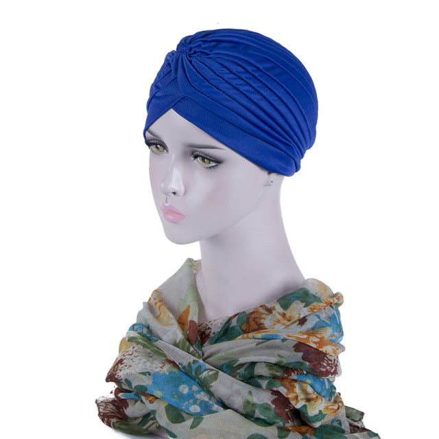 Bandanas Headband Stretchy Turban Muslim Hat Headband Wrap Chemo Hijab Knotted Indian Cap Headband for Women - Trend-gem