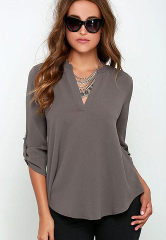 Three Quarter Length Sleeve Chiffon Blouse - Trend-gem