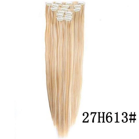 "6Pcs/Set 22"" Hairpiece 140G Straight 16 Clips In False Styling Hair Synthetic Clip In Hair Extensions Heat Resistant - Trend-gem"
