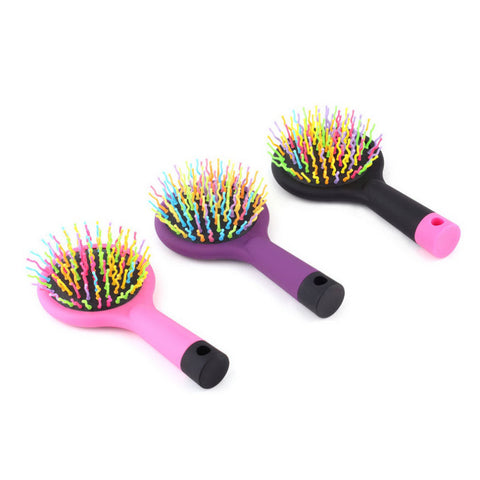 High Quality 1pc Rainbow Volume Anti-static Magic Detangler Hair Curl Straight Massage Comb Brush Styling Tools With Mirror - Trend-gem