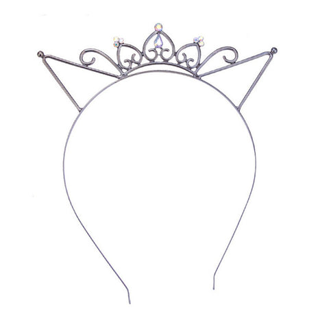 Cat Ears Crown Tiara Headband for Women Hair Rhinestone Princess Hollow Hairband - Trend-gem