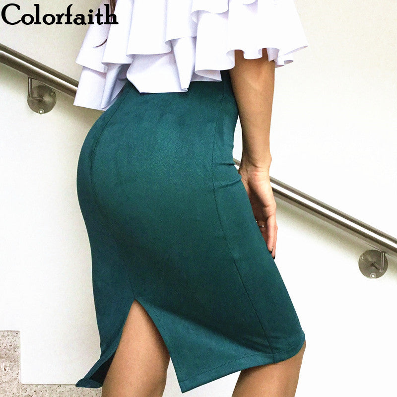 Multi-Colored Solid Suede Pencil Skirt - Trend-gem