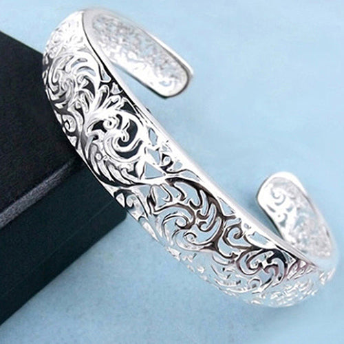 Silver Plated Bezel Hollow Cuff Bangle - Trend-gem