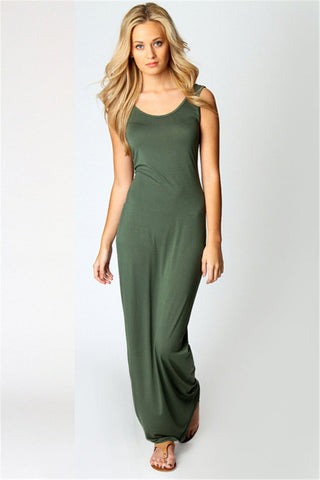 Green Stretchy Fit Long Sundress - Trend-gem