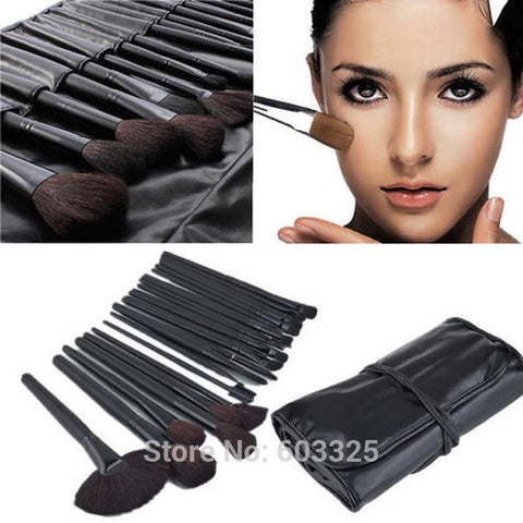32pcs Professional Makeup Brush Set + Black Leather Bag - Trend-gem