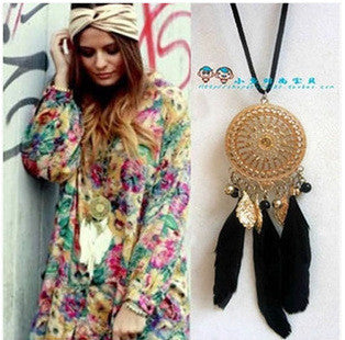Bohemia Black Feather Dreamcatcher Necklace