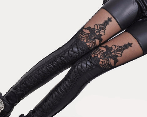 Embroidered Lace Leggings