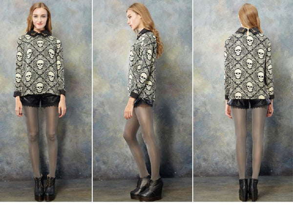 Punk Rivet Skull Blouse